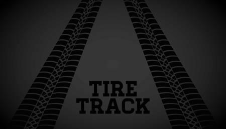 black background: Tire track print graphic design, vector illustration eps10