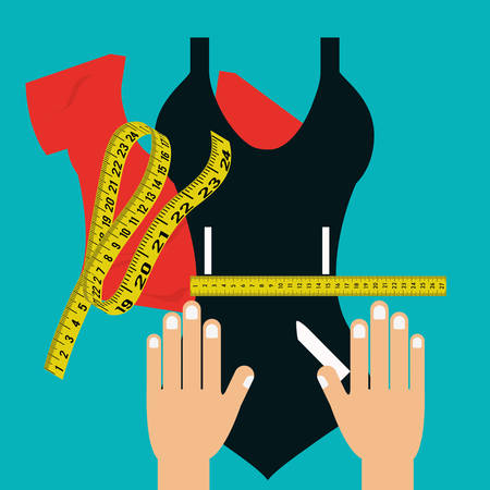 slim woman: Measure tape and dieting graphic design, vector illustration eps10