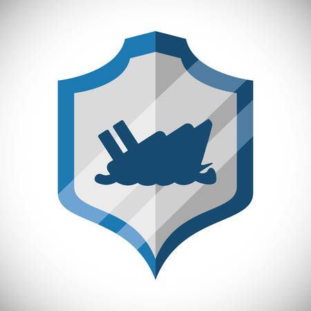 boat accident: Insurance and security business icon graphic design, vector illustration eps10