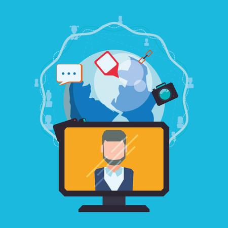 socialising: Social media and technology graphic design, vector illustration eps10