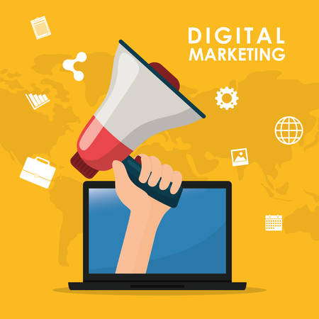 Digital marketing and advertising graphic design, vector illustration eps10 Illustration
