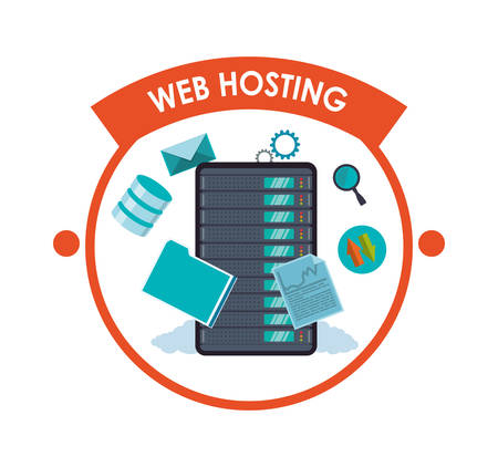 Web Hosting concept with data security icons design, vector illustration 10 eps graphic.