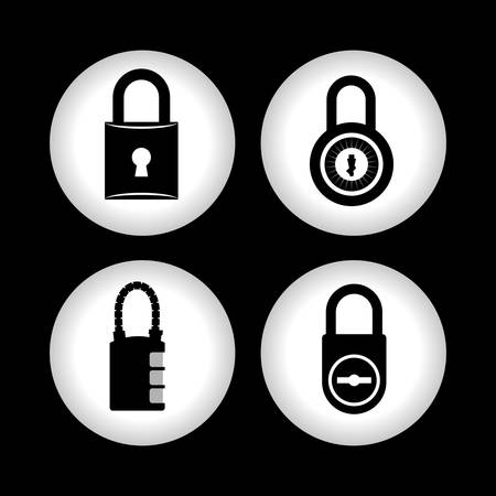 secure icon: Web Hosting concept with data security icons design, vector illustration 10 eps graphic.