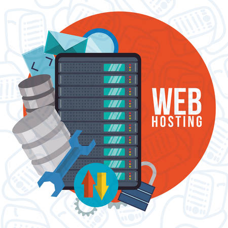 web services: Web Hosting concept with data security icons design, vector illustration 10 eps graphic.