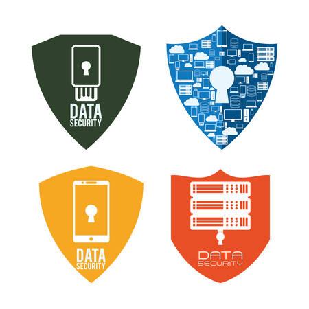 guardia de seguridad: Web Hosting con el concepto de dise�o de seguridad de datos iconos, ilustraci�n vectorial eps 10 gr�fico. Vectores