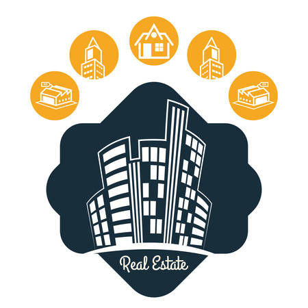 buy sell: Real Estate concept with building icon design, vector illustration 10 eps graphic.