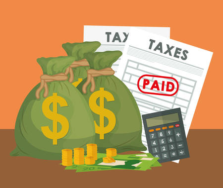 pay: Pay taxes graphic design theme,