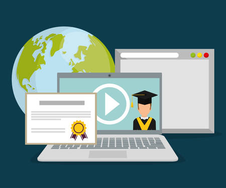 online education: Online education and eLearning graphic design, Illustration