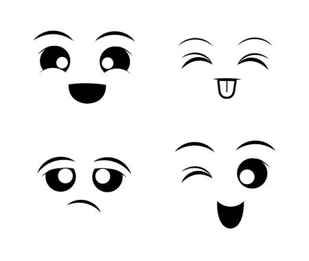 face to face: Funny cartoon face graphic design, Illustration