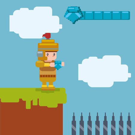 generated: Videogame concept with pixel icon design, vector illustration 10 eps graphic. Illustration