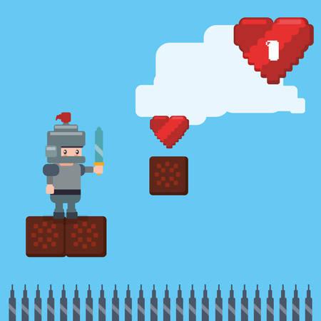 concepto de videojuego con el diseño de iconos de píxeles, ilustración vectorial eps 10 gráfico.