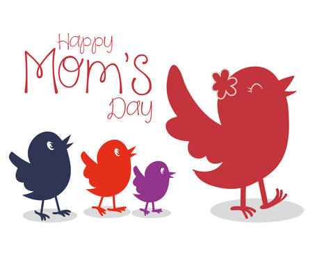bird illustration: Mothers day concept with cute icons design