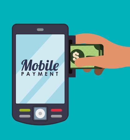 banco dinero: Banco de dinero y el diseño gráfico de pago en línea, ilustración vectorial Vectores