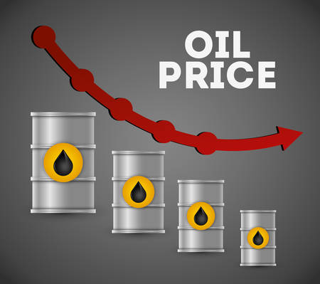 price development: Petroleum and oil prices business graphic design, vector illustration eps10