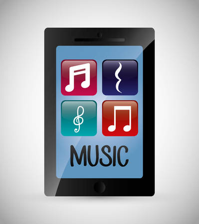 personas escuchando: Music concept with technology icon design, vector illustration 10 eps graphic.