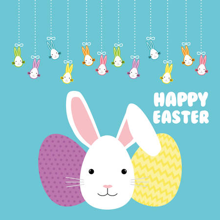 Happy Easter concept with cute icons design, vector illustration 10 eps graphic.