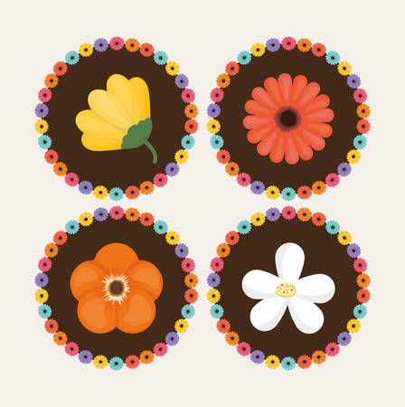 cicles: Spring concept with flowers design, vector illustration 10 eps graphic.
