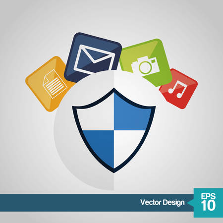 Security system concept with technology icon design, vector illustration 10 eps graphic.