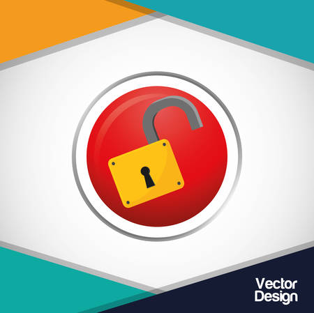 protected: Security system concept with technology icon design, vector illustration 10 eps graphic.