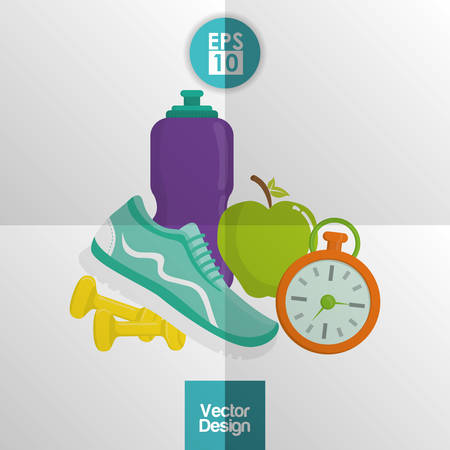 exercising: Healthy lifestyle concept with gym icon design, vector illustration 10 eps graphic. Illustration