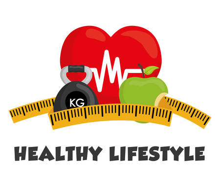 Healthy lifestyle concept with fitness icon design, vector illustration 10 eps graphic. Illustration