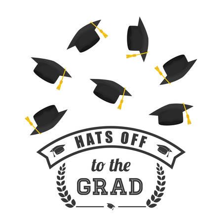 finishing school: Graduation  concept with icon design