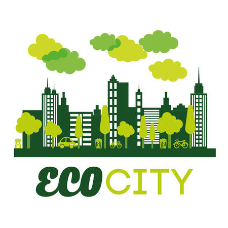 Eco city  concept with icon design Illustration