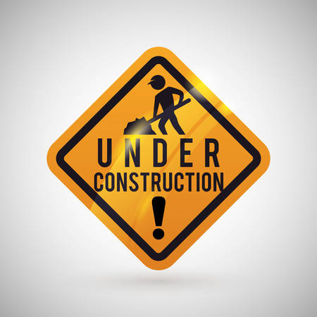 under construction sign with man: Under construction concept with icon design