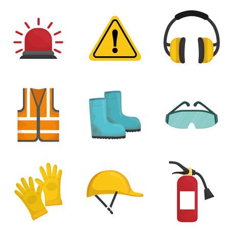 concepto de seguridad industrial con el diseño de iconos, ilustración vectorial eps 10 gráfico.