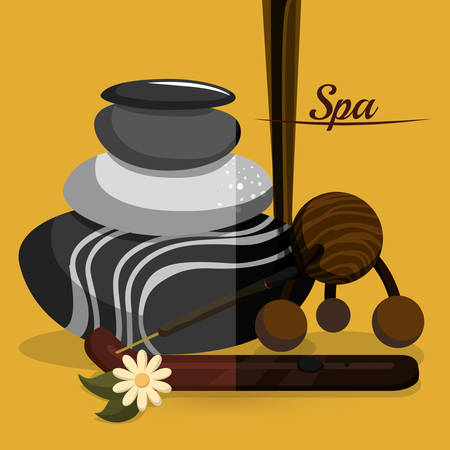 alternative rock: Spa center concept with icon design Illustration
