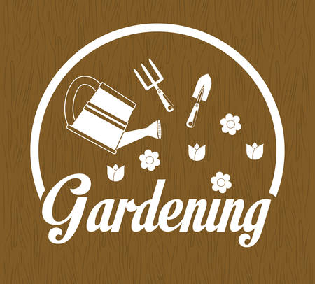 landscaped garden: Gardening  concept with icon design Illustration