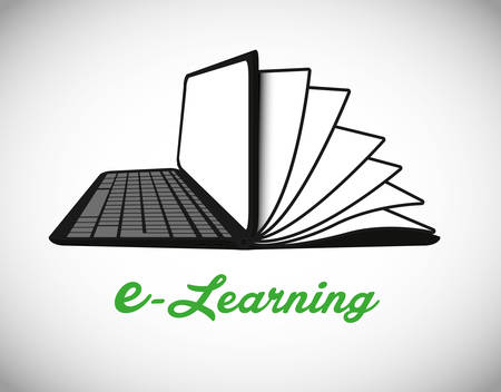 digital learning: e-learning concept with icon design, vector illustration 10 eps graphic.