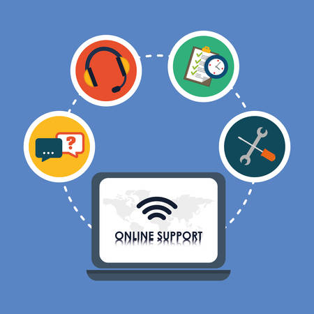 online support: Online support concept with icon design, vector illustration 10 eps graphic.