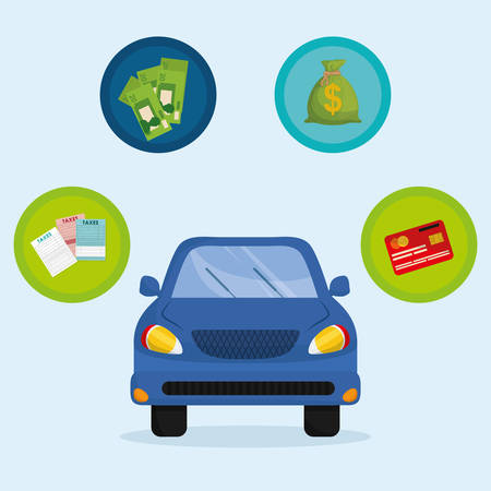 car bills: Taxes concept with icon design, vector illustration 10 eps graphic.