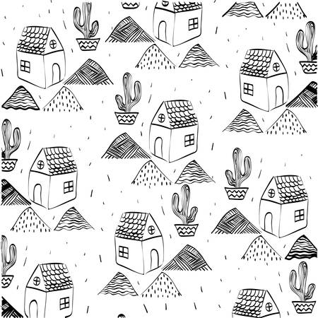 residences: House concept with cactus icon design, vector illustration 10 eps graphic. Illustration