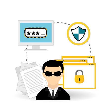 hacker: security system concept with icon design, vector illustration 10 eps graphic.