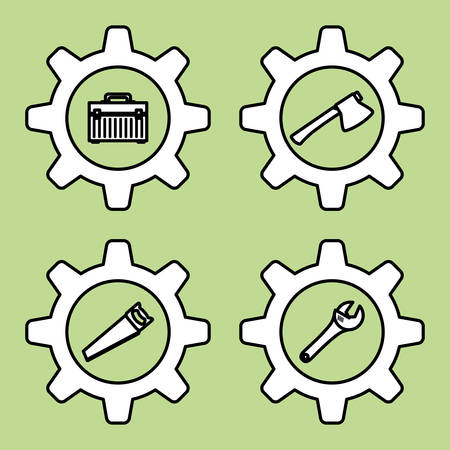 warning saw: tools  concept with icon design, vector illustration 10 eps graphic. Illustration