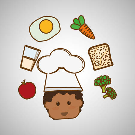 healthy kid: Menu kids concept with icon design, vector illustration 10 eps graphic. Illustration