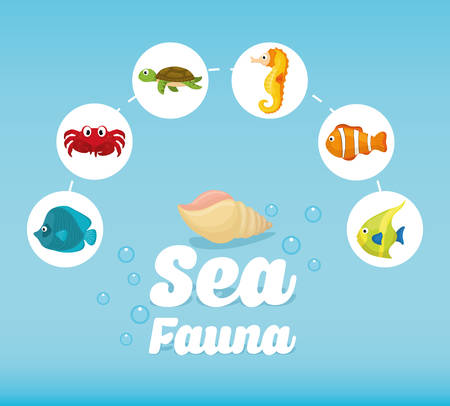 submerged: Sea Fauna concept with icon design, vector illustration 10 eps graphic.