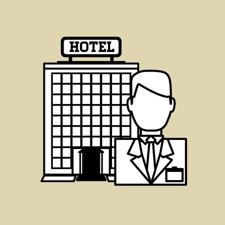 pensions: Hotel concept with icon design, vector illustration 10 eps graphic. Illustration