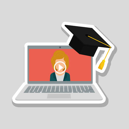 university students: Online training concept with icon design, vector illustration 10 eps graphic.