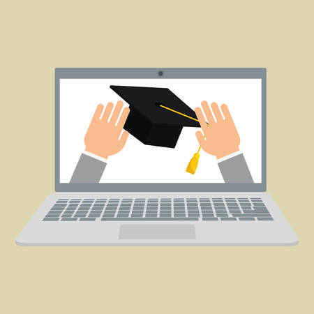commencement: learning concept with icon design, vector illustration 10 eps graphic.