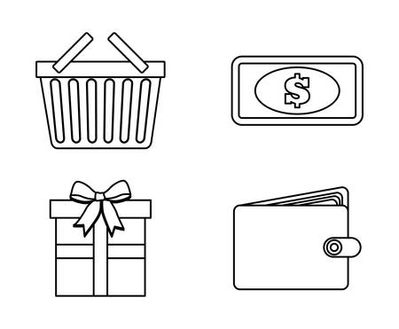 paying bills online: shopping concept with icon design, vector illustration 10 eps graphic.