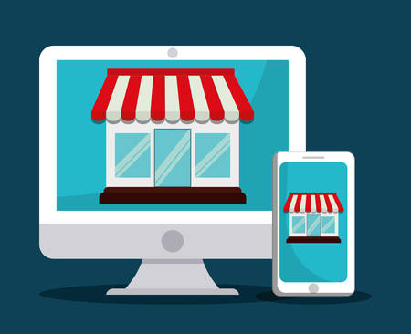commerce communication: shopping concept with icon design, vector illustration 10 eps graphic.