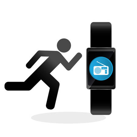 clock radio: wearable technology concept with icon design, vector illustration