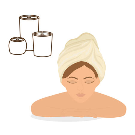 luxury hotel room: Spa center concept with icon design, vector illustration 10 eps graphic.