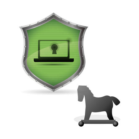 troya: Security System  concept with icon design, vector illustration 10 eps graphic.