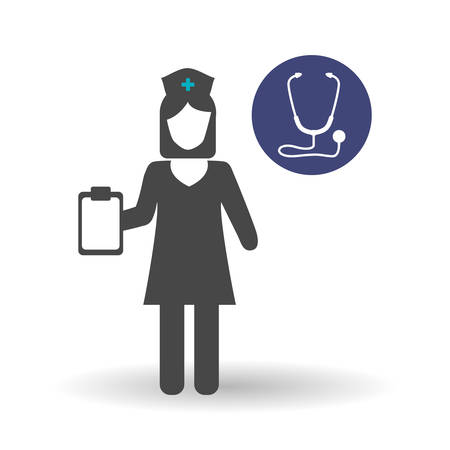 girl stethoscope: Medical care concept with icon design, vector illustration 10 eps graphic.