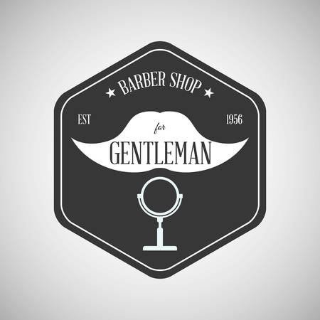 look in mirror: Barber shop concept with icon design, vector illustration 10 eps graphic. Illustration