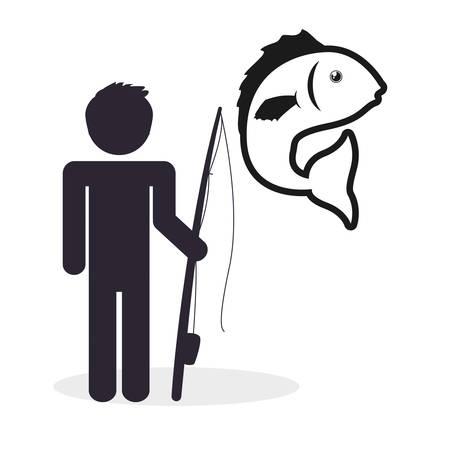 recreational fishermen: Fishing concept with icon design, vector illustration  graphic. Illustration
